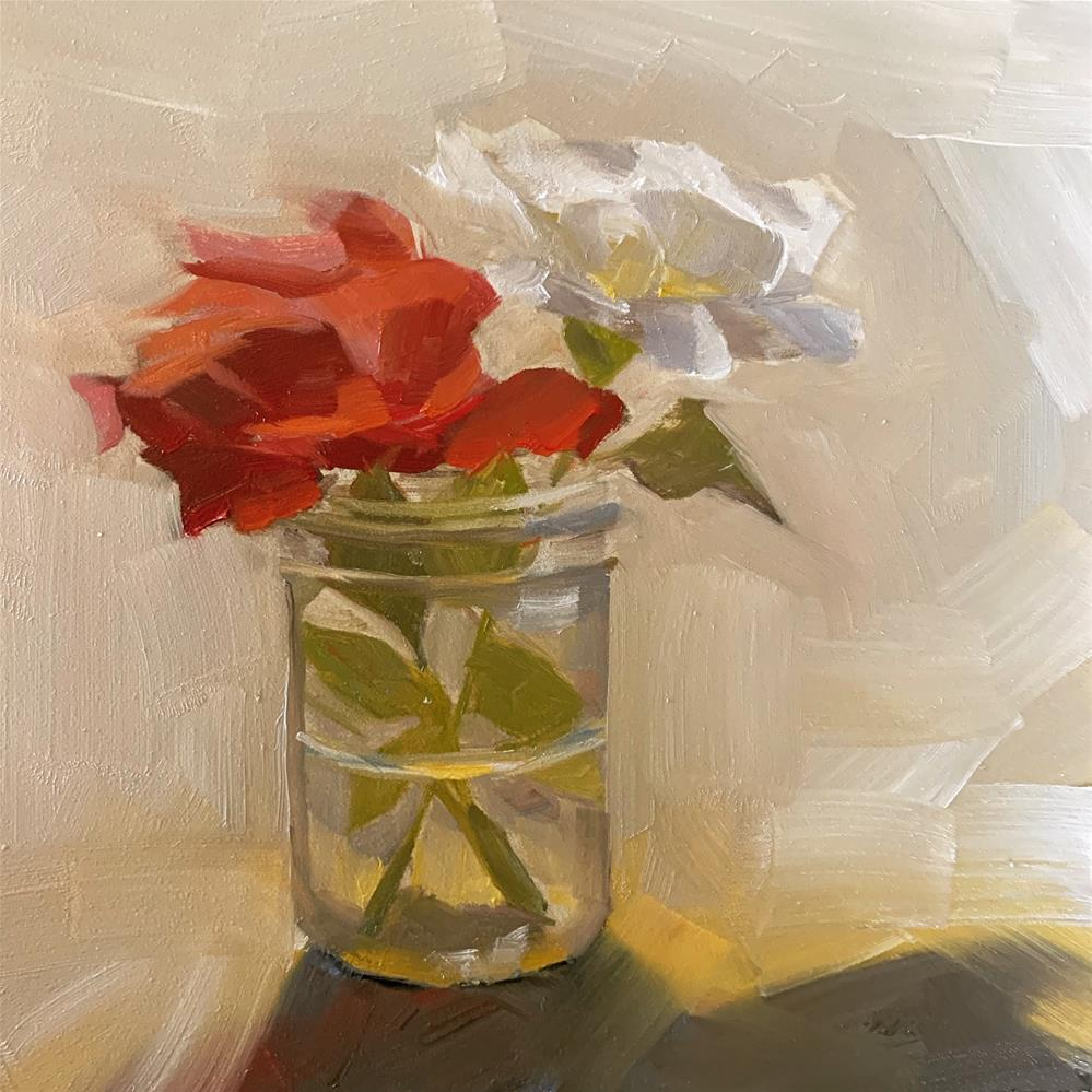 """""""705 Red and White"""" original fine art by Jenny Doh"""