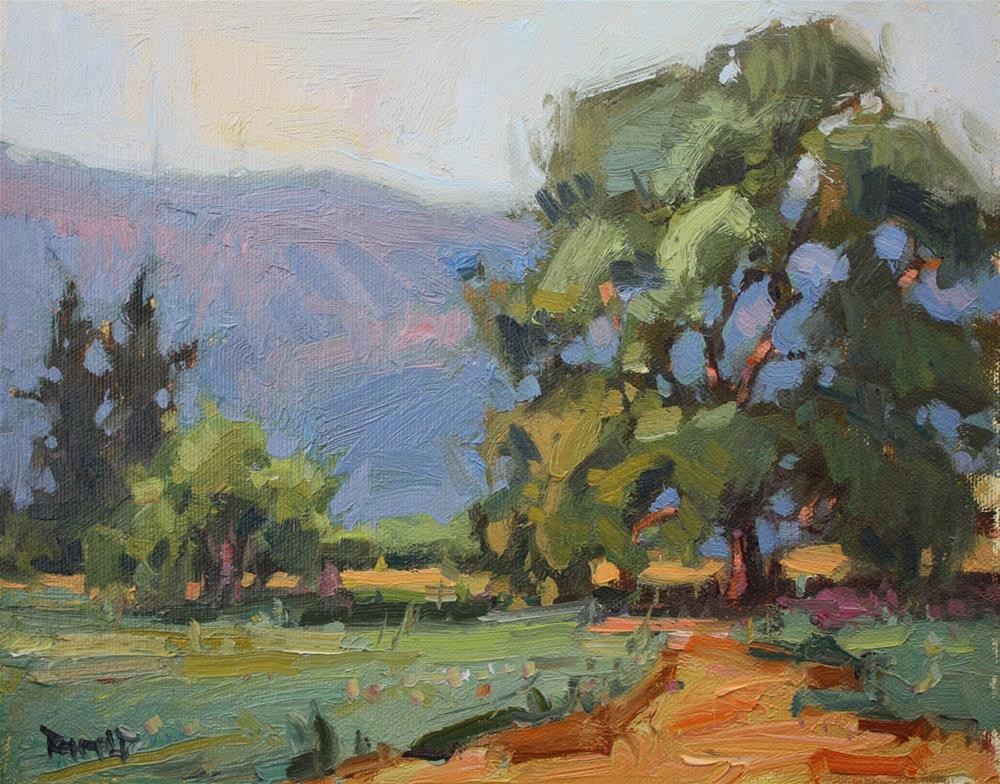 """""""More Trees and Pink Hills"""" original fine art by Cathleen Rehfeld"""