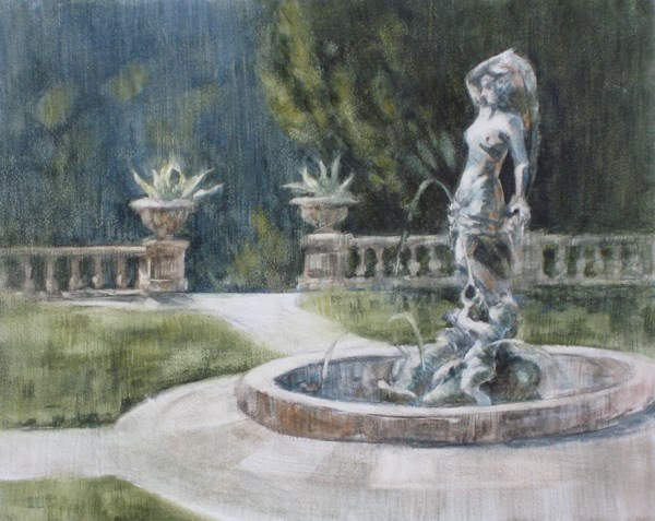 """""""Fountain at Kimberly Crest"""" original fine art by Ginger Pena"""