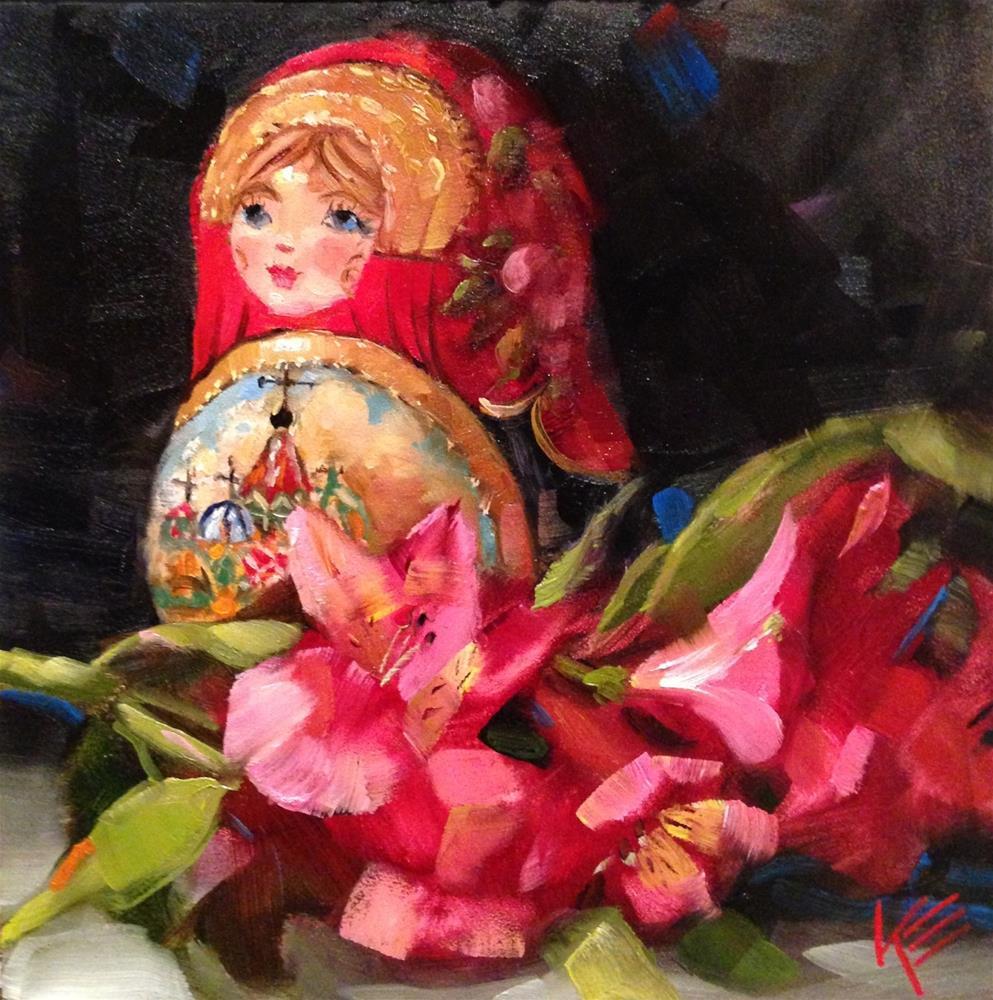 """Babushka Doll & Astros"" original fine art by Krista Eaton"