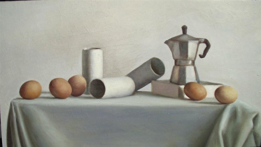 """""""Cafettiera and Eggs"""" original fine art by Megan Schembre"""