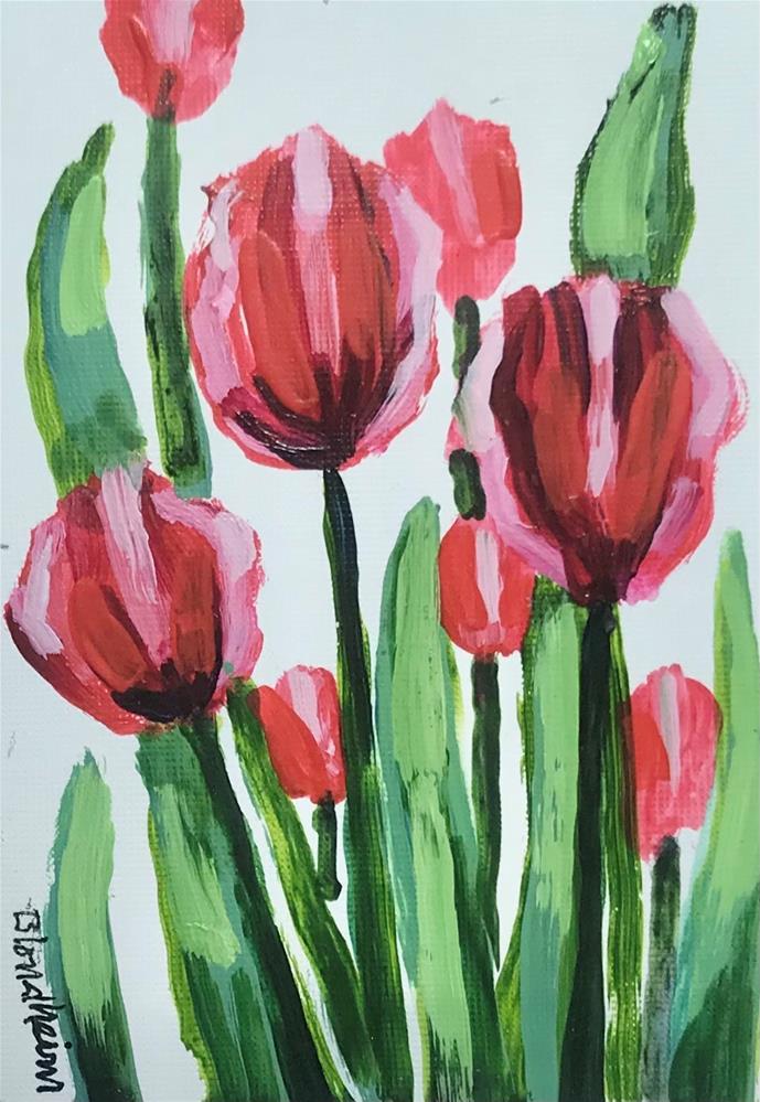 """""""Red Tulips"""" original fine art by Linda Blondheim"""