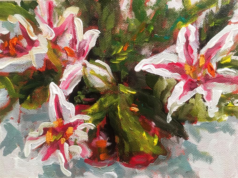"""""""Candy Cane Lilies"""" original fine art by Susan Elizabeth Jones"""