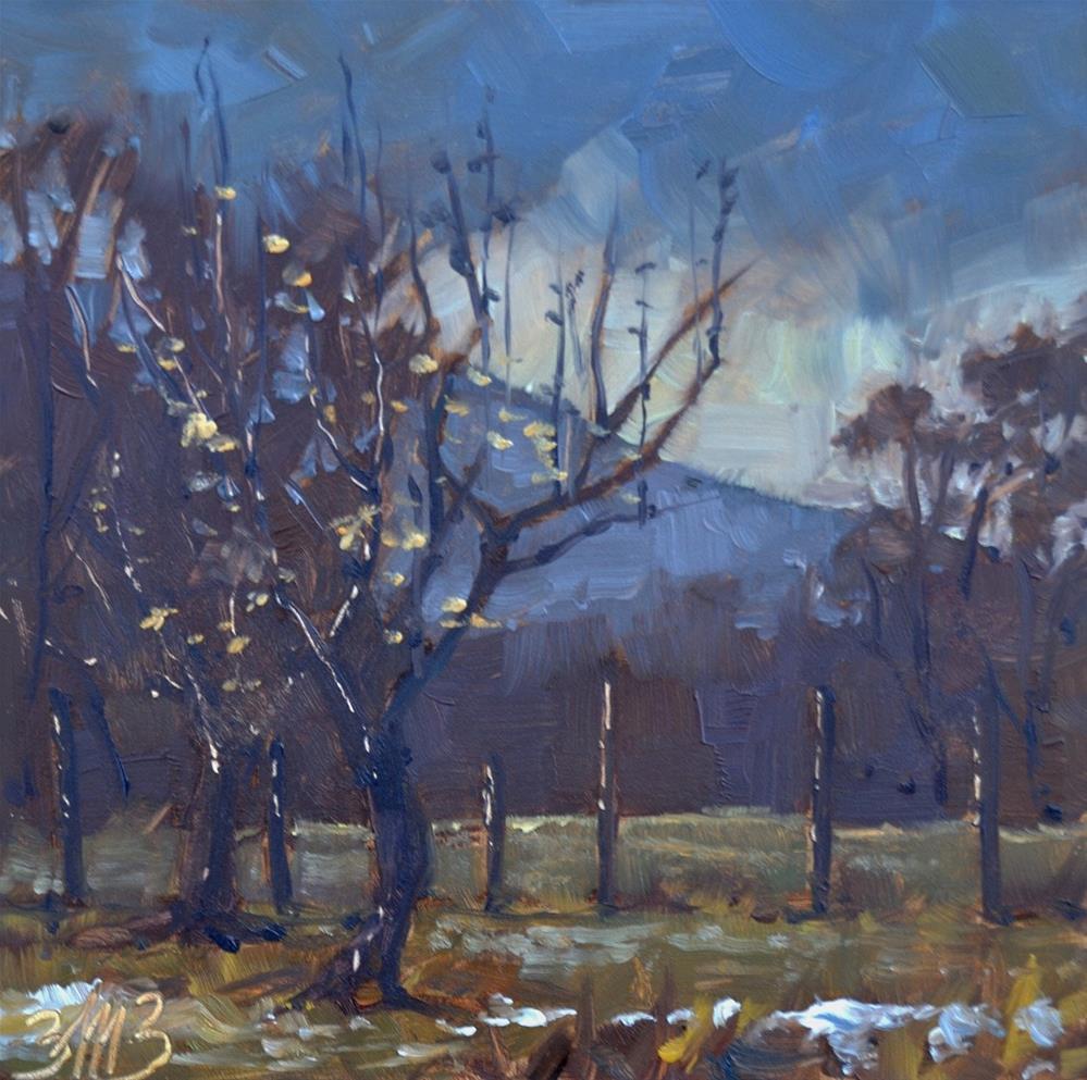 """Frosty Orchard"" original fine art by Brienne M Brown"