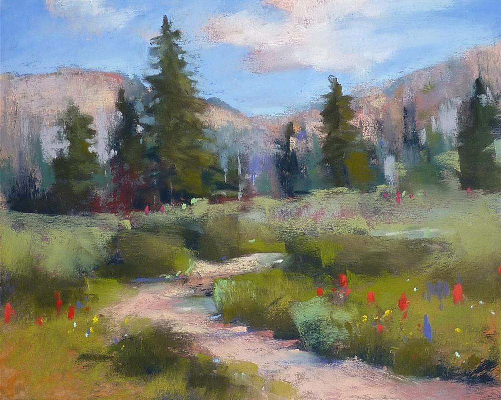 """Pastel Demo....Colorado Landscape with Wildflowers"" original fine art by Karen Margulis"