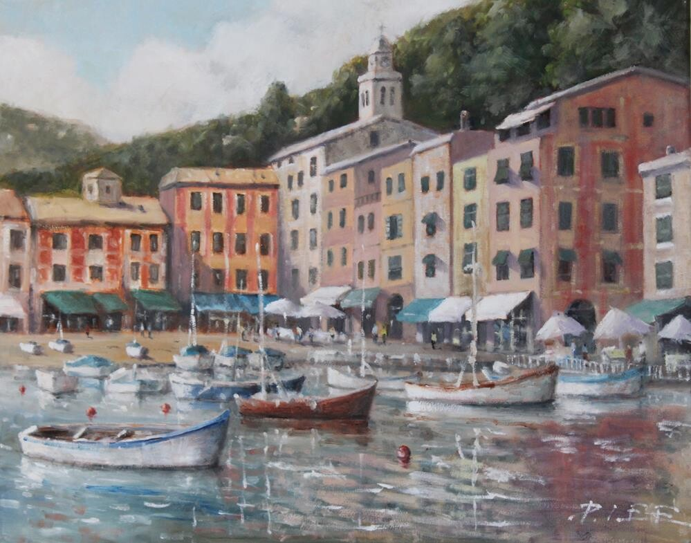"""Portofino Bay Italy"" original fine art by Peter Lee"