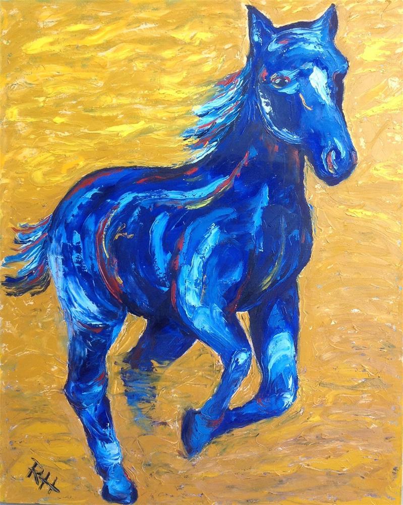 """""""Blue and Gold"""" original fine art by Rachel  Holland"""