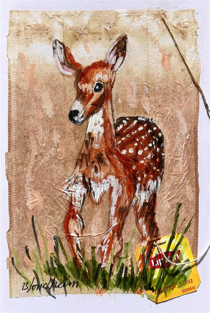 """Tea Bag Painting Fawn"" original fine art by Linda Blondheim"