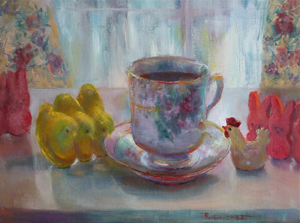 """Tea with T. C. and her Peeps"" original fine art by Pamela Sweet"