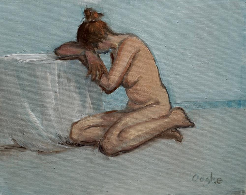 """""""Nude Female with head down"""" original fine art by Angela Ooghe"""