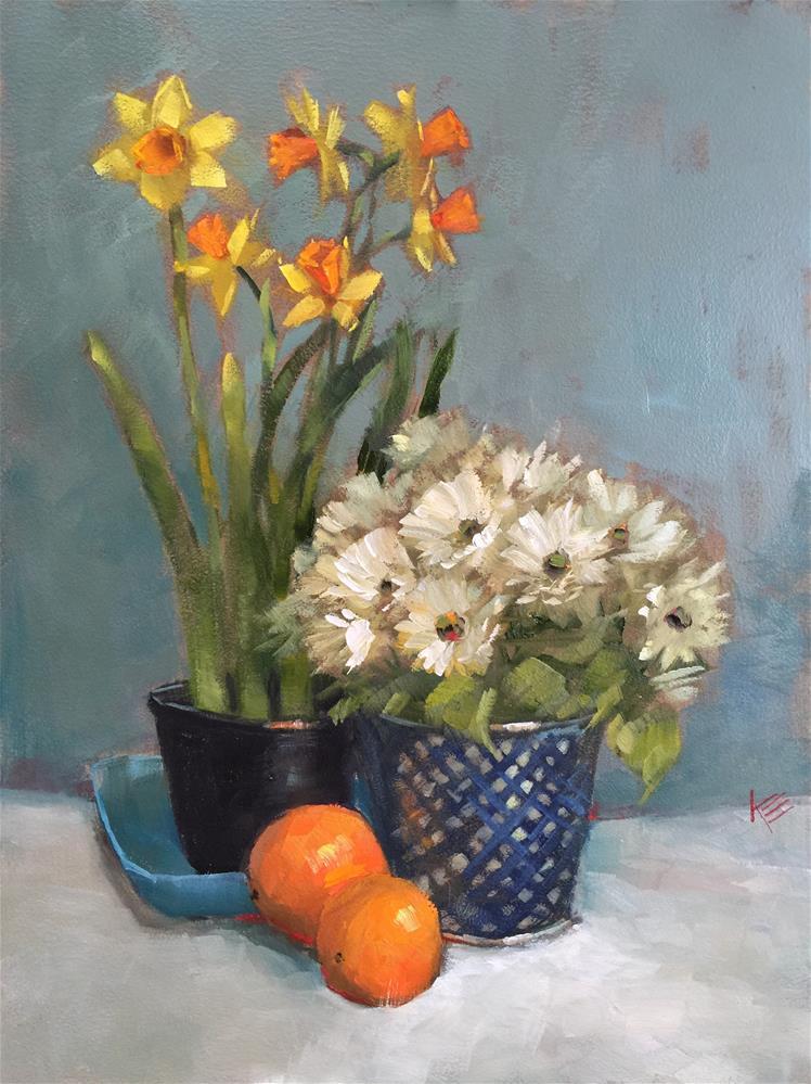 """Daffodils & Daisies Still Life"" original fine art by Krista Eaton"