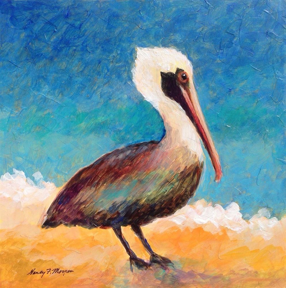 """Brown Pelican"" original fine art by Nancy F. Morgan"