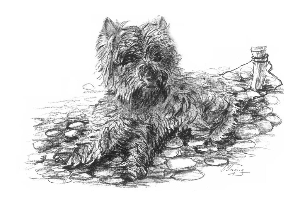 """""""dog1"""" original fine art by Wenqing Xu"""