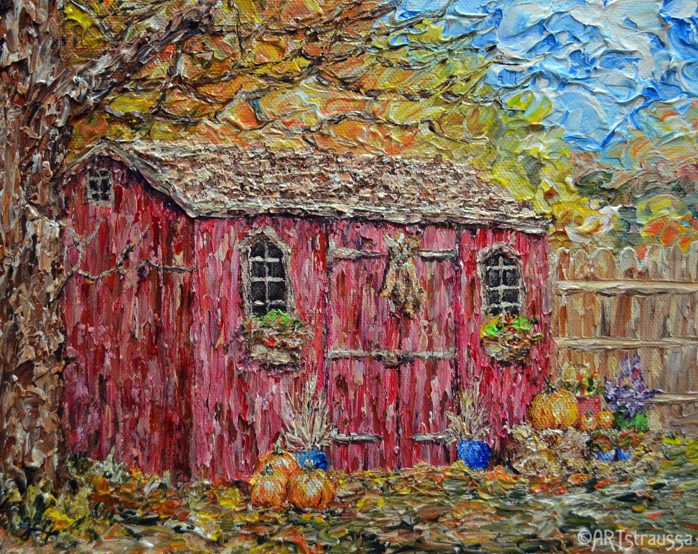"""SALE!!!Adorned Autumn Shed"" original fine art by Gloria Ester"