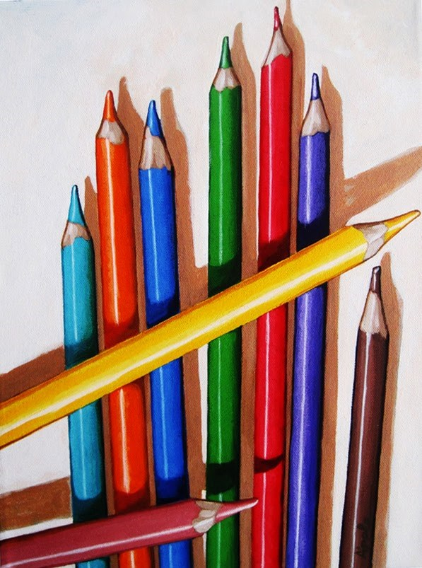 """""""Color the Day Happy - still life colored pencils painting by Linda Apple"""" original fine art by Linda Apple"""