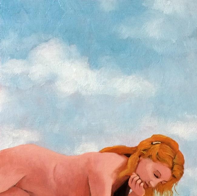 """""""contemplation semi-nude oil"""" original fine art by Ria Hills"""
