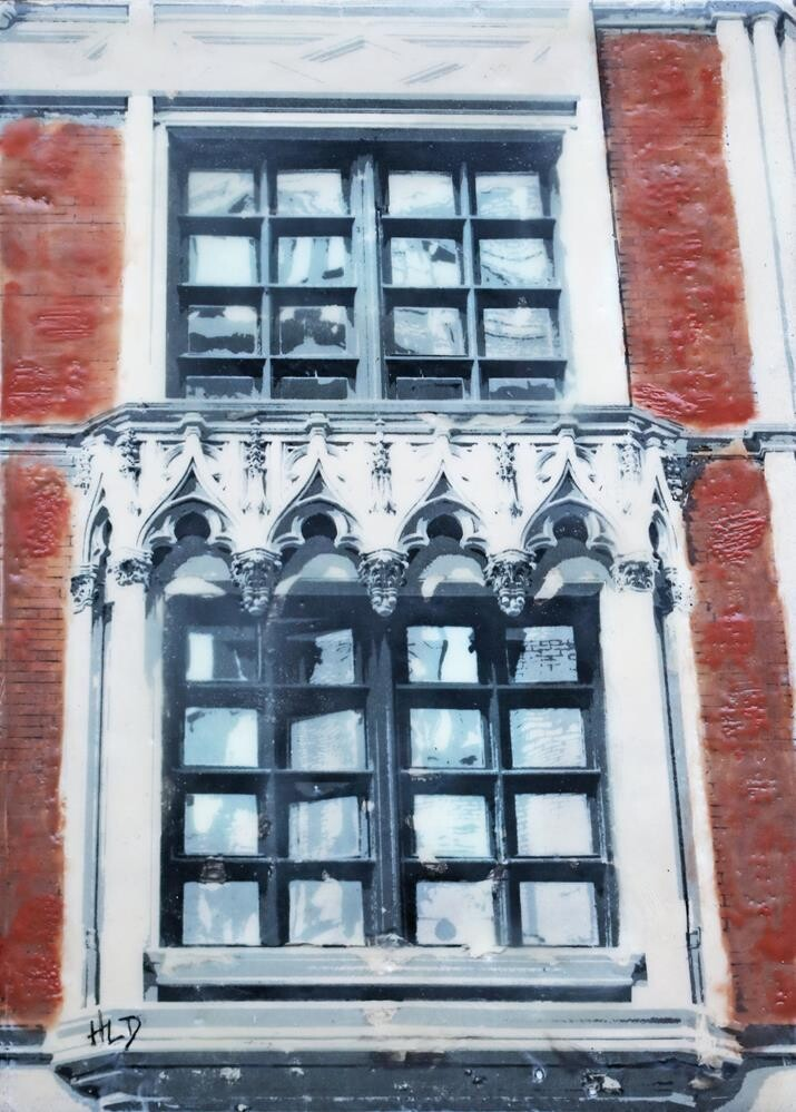 """Red House Window"" original fine art by Heather Douglas"