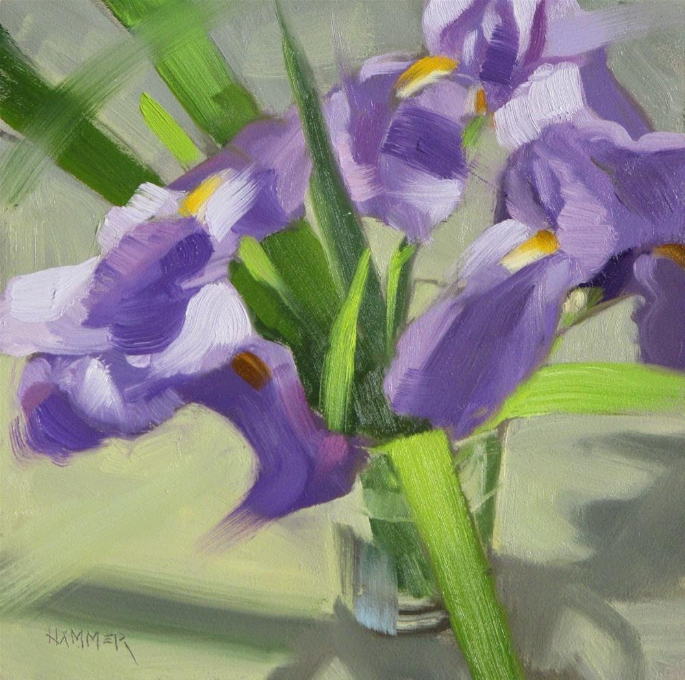 """Three Iris   6x6 in   oil painting"" original fine art by Claudia Hammer"