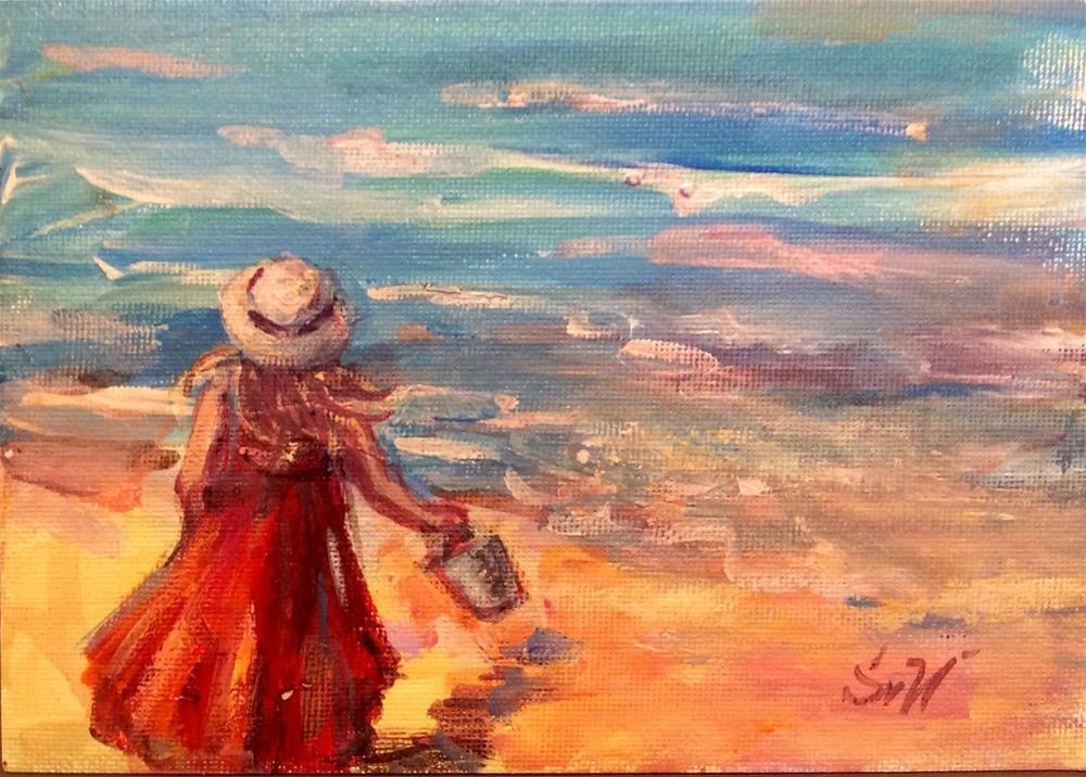 """Girl on a beach painting"" original fine art by Sonia von Walter"