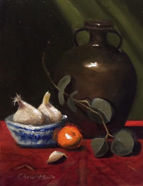 """Garlic and Jug"" original fine art by Cheryl J Smith"