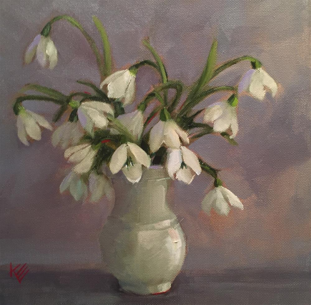 """Snow Drops in White Vase"" original fine art by Krista Eaton"