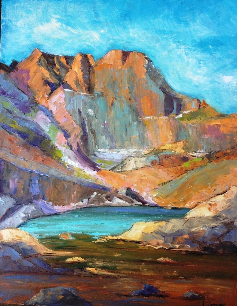 """The Diamond, Long's Peak, Rocky Mountain National Park"" original fine art by Liz Zornes"