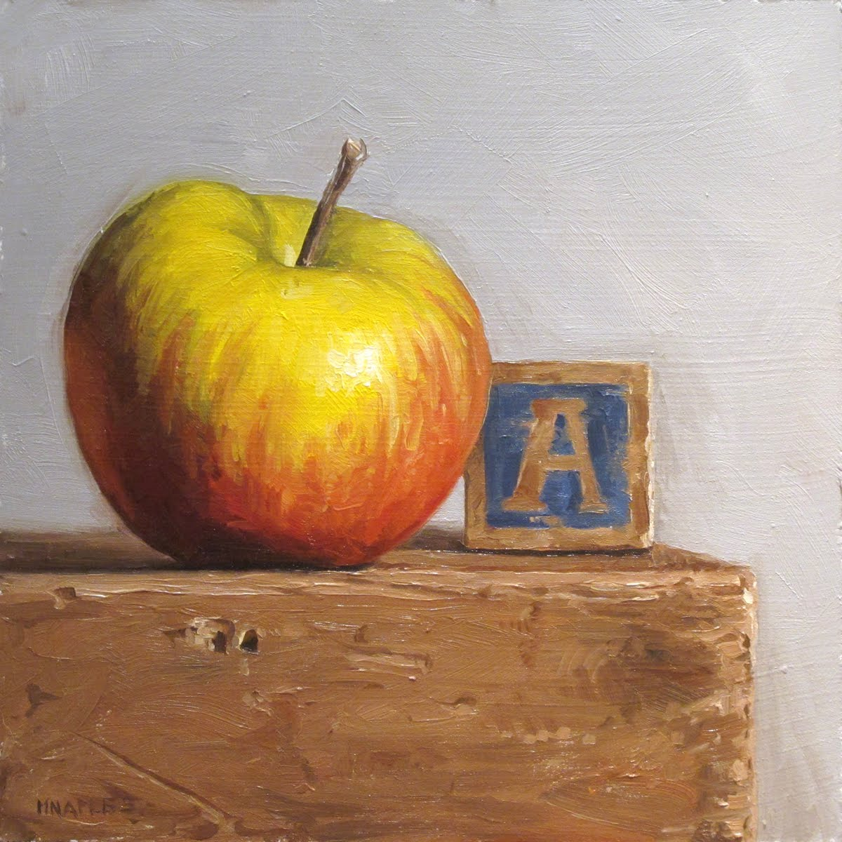 """A is for Apple"" original fine art by Michael Naples"