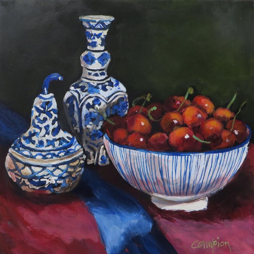 """898 Crazy for Cherries"" original fine art by Diane Campion"