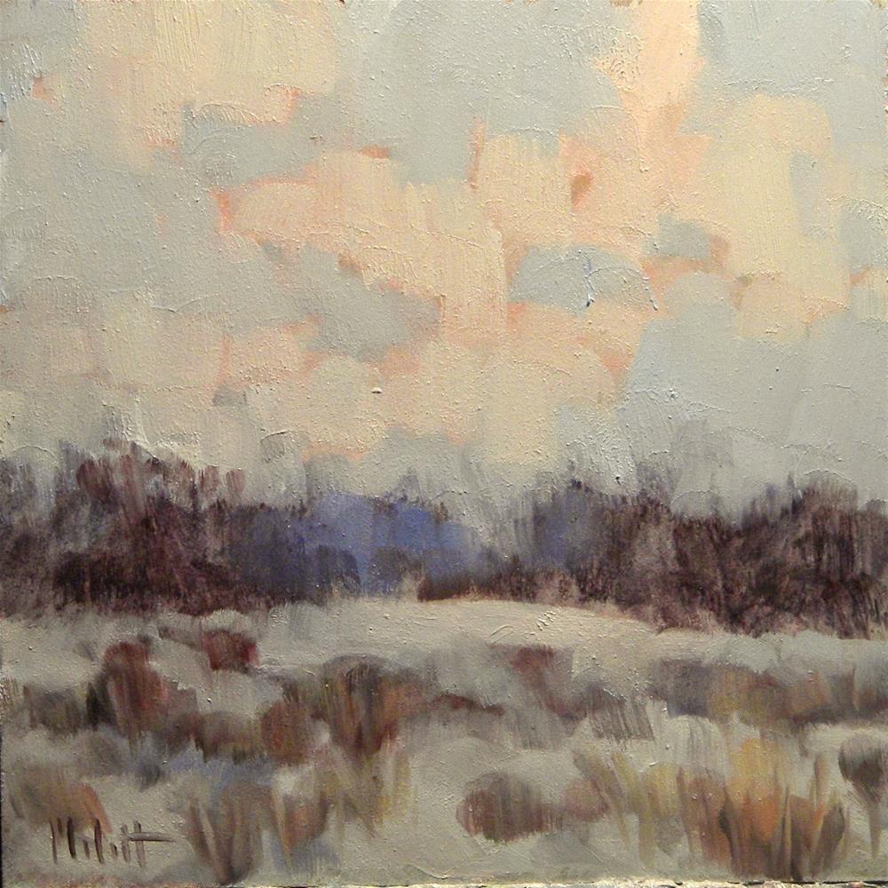 """Winter Skies Snowy Landscape Original Little Oil Painting"" original fine art by Heidi Malott"