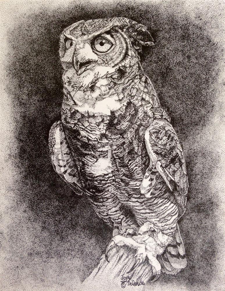 """""""Oh My Owl (stippling al dots) by Joye DeGoede"""" original fine art by Joye DeGoede"""