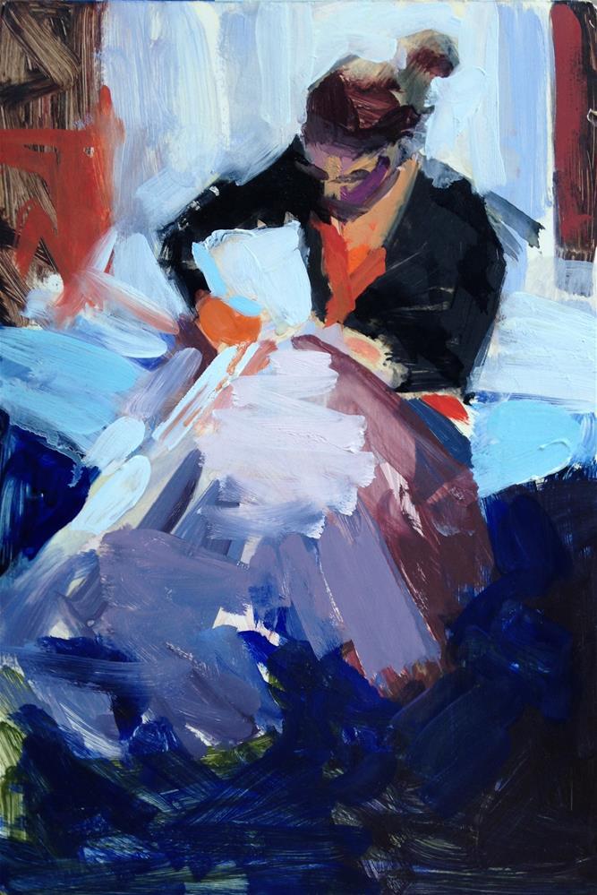 """The Little Seamstress"" original fine art by Pamela Hoffmeister"