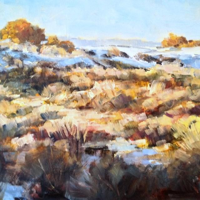 """""""Autumn at White Sands"""" original fine art by Lindy Bridgers"""