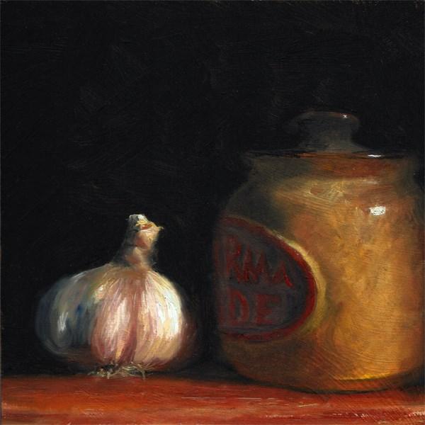"""Garlic with earthenware jar"" original fine art by Peter J Sandford"