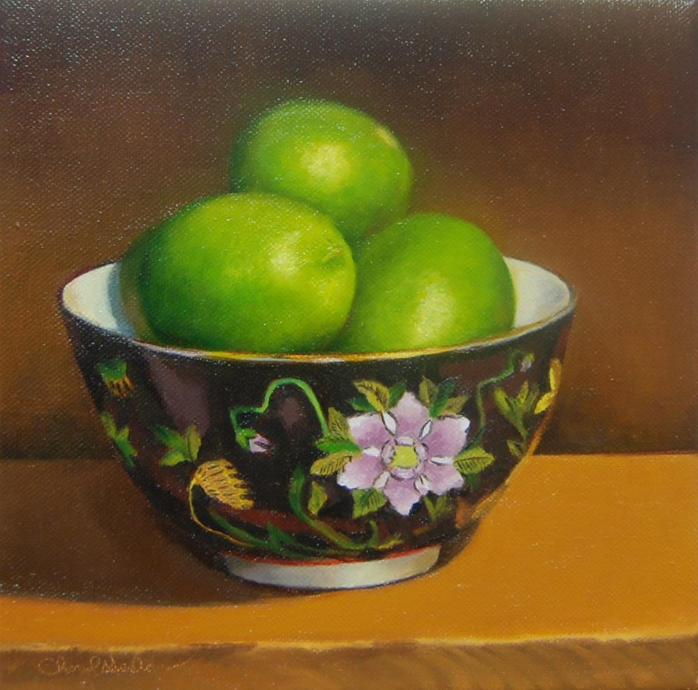 """""""Chinese Bowl with Limes"""" original fine art by Cheryl Meehan"""