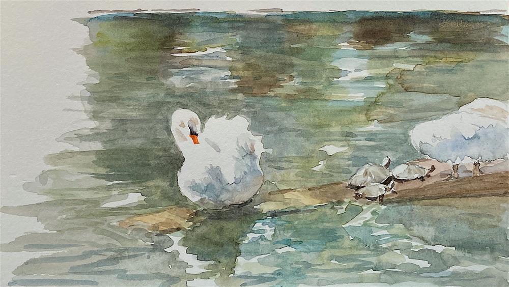 """Frog Pond at the Public Garden, Boston MA"" original fine art by Judith Freeman Clark"