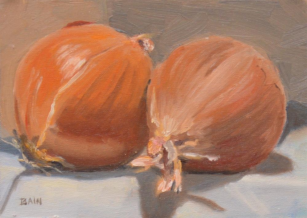 """Two Onions"" original fine art by Peter Bain"