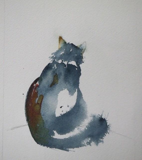 """""""Cat 2"""" original fine art by Mitsuru Cope"""