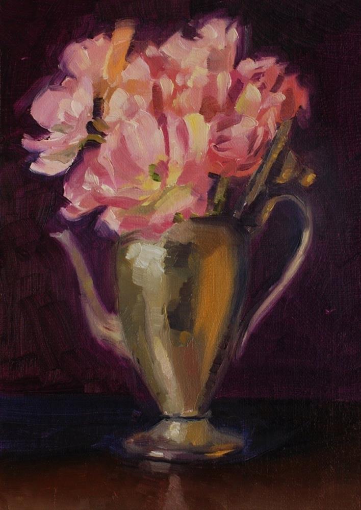 """No. 422 Double Tulips and Silver"" original fine art by Susan McManamen"