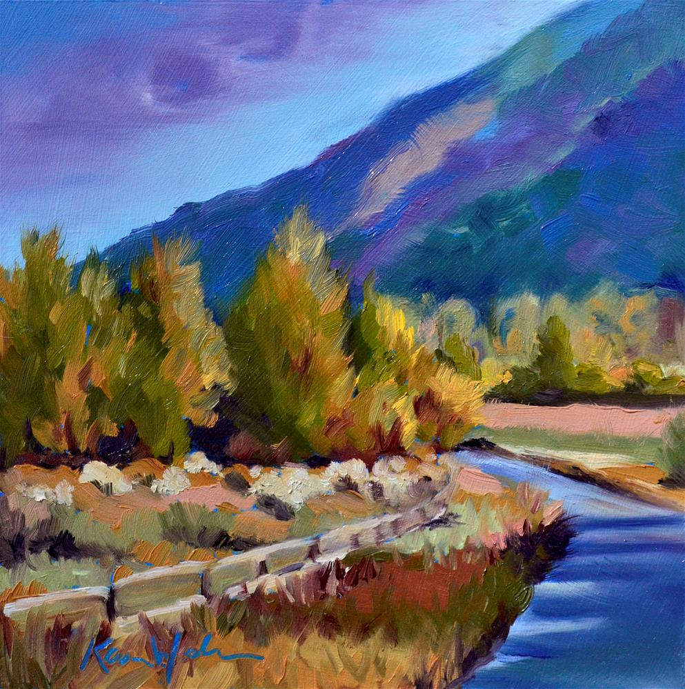 """""""Blue Mountain Bend"""" original fine art by Karen Weber"""