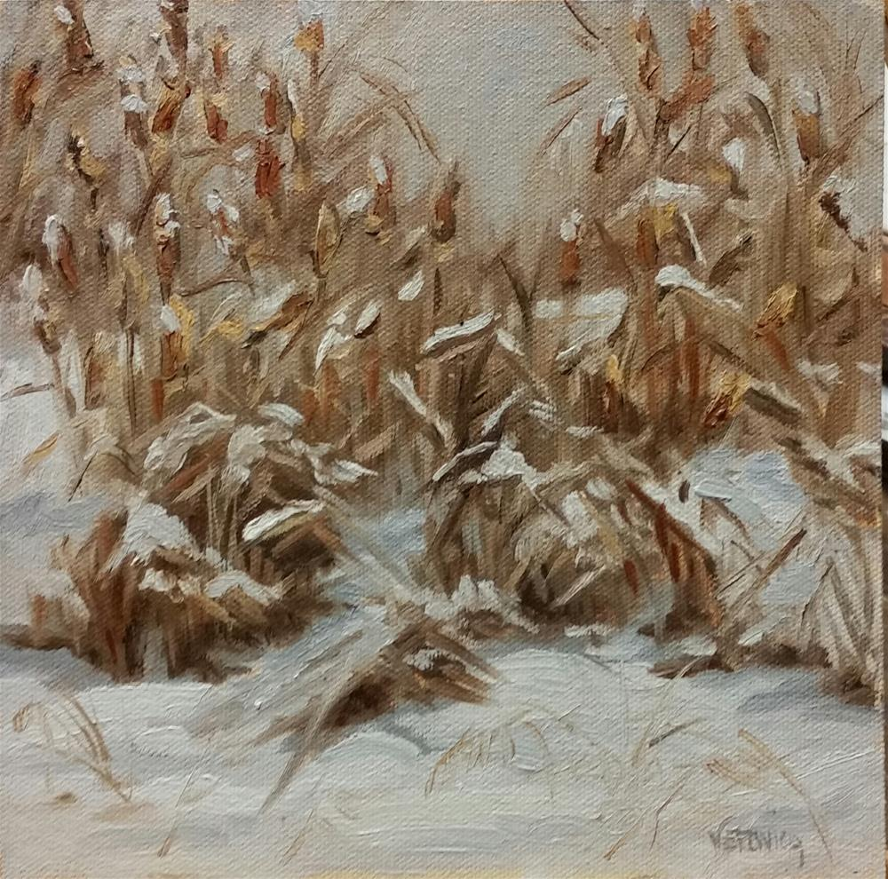 """Cattails in the snow-plein air"" original fine art by Veronica Brown"