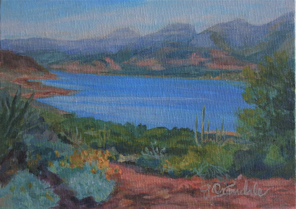 """Roosevelt Lake Overlook"" original fine art by Jan Oxendale"