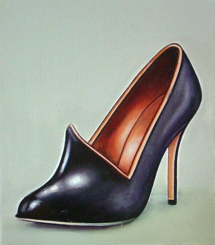 """Manolo Blahnik 4- Still Life Painting Of Black Manolo Blahnik Shoe"" original fine art by Gerard Boersma"