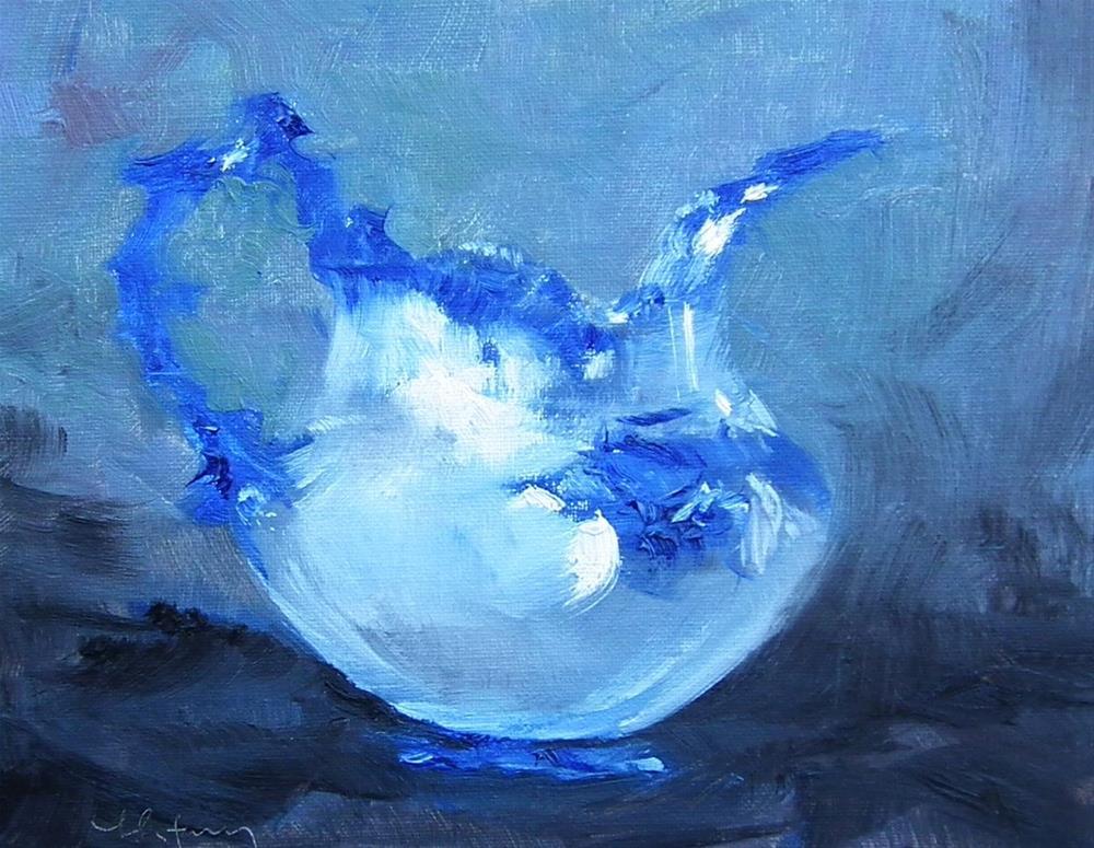 """Blue Pitcher Study"" original fine art by kay keyes farrar"