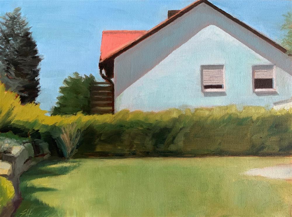 """Shadow on neighbour's blue house"" original fine art by Stefan Ullrich"