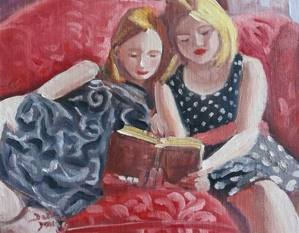 """758 In the Library"" original fine art by Darlene Young"