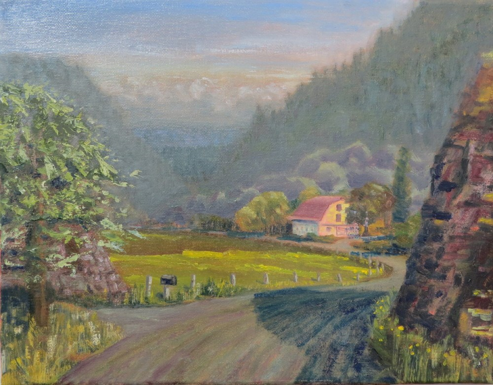 """Daybreak; Coastal Farm"" original fine art by Richard Kiehn"