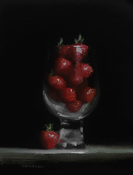 """Glass of Strawberries"" original fine art by Neil Carroll"