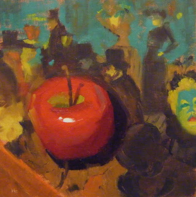 """HOMAGE TO LAUTREC WITH RED APPLE"" original fine art by Helen Cooper"