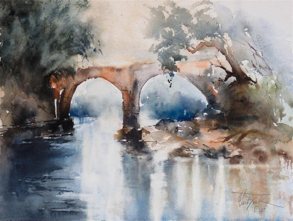 """Old Stone Bridge"" original fine art by Christa Friedl"