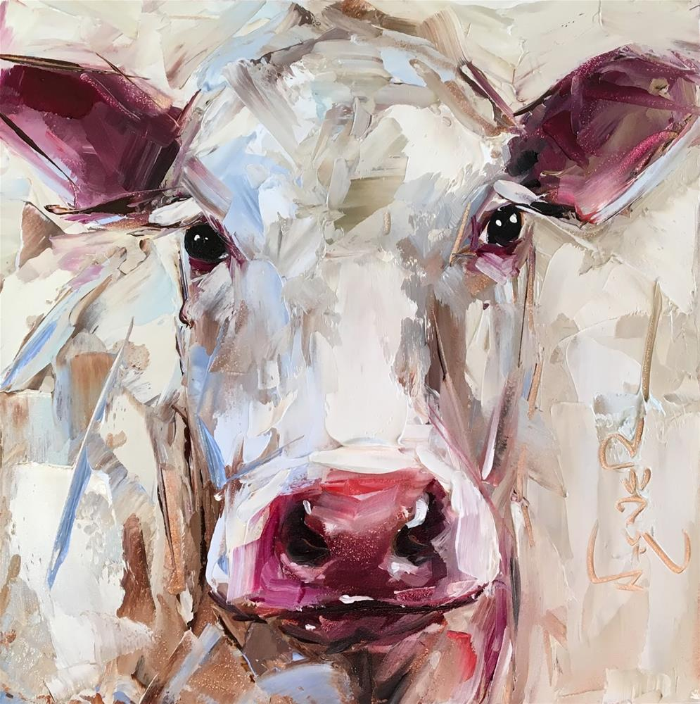 """""""ORIGINAL CONTEMPORARY WHITE COW PAINTING in OILS by OLGA WAGNER - 12 DAYS OF GREY"""" original fine art by Olga Wagner"""